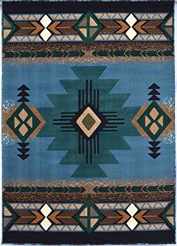 Rugs 4 Less Collection Southwest Native American Indian Area Rug Design R4L 318 Light Blue (8'x10') by Rugs 4 Less