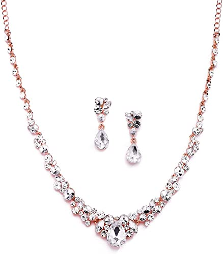 Mariell Glamorous Blush Rose Gold Crystal Necklace Earrings