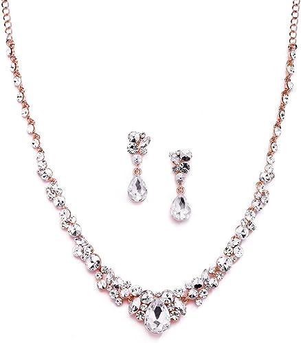 Deep Pink Rose Rhinestone Crystal Necklace and Earrings Bridal Bridesmaid Set