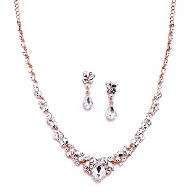 Amazoncom Mariell Glamorous Blush Rose Gold Crystal Necklace