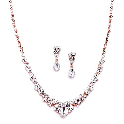 Mariell Glamorous Blush Rose Gold Crystal Necklace   Earrings Jewelry Set  for Wedding b908bbfe27