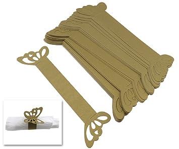 50 x tarjetas mariposa de servilletero de decoración oro de mesa Boda: Amazon.es: Bricolaje y herramientas