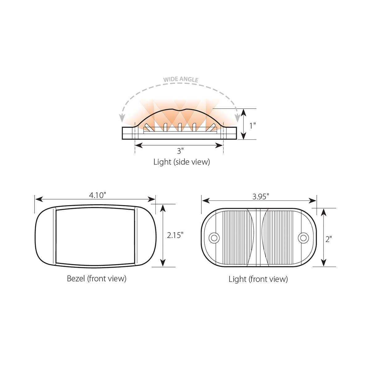 GG Grand General 75161 LED Light Rectangle Amber//Clear Wide Angle 14, High//Low 3 Wires