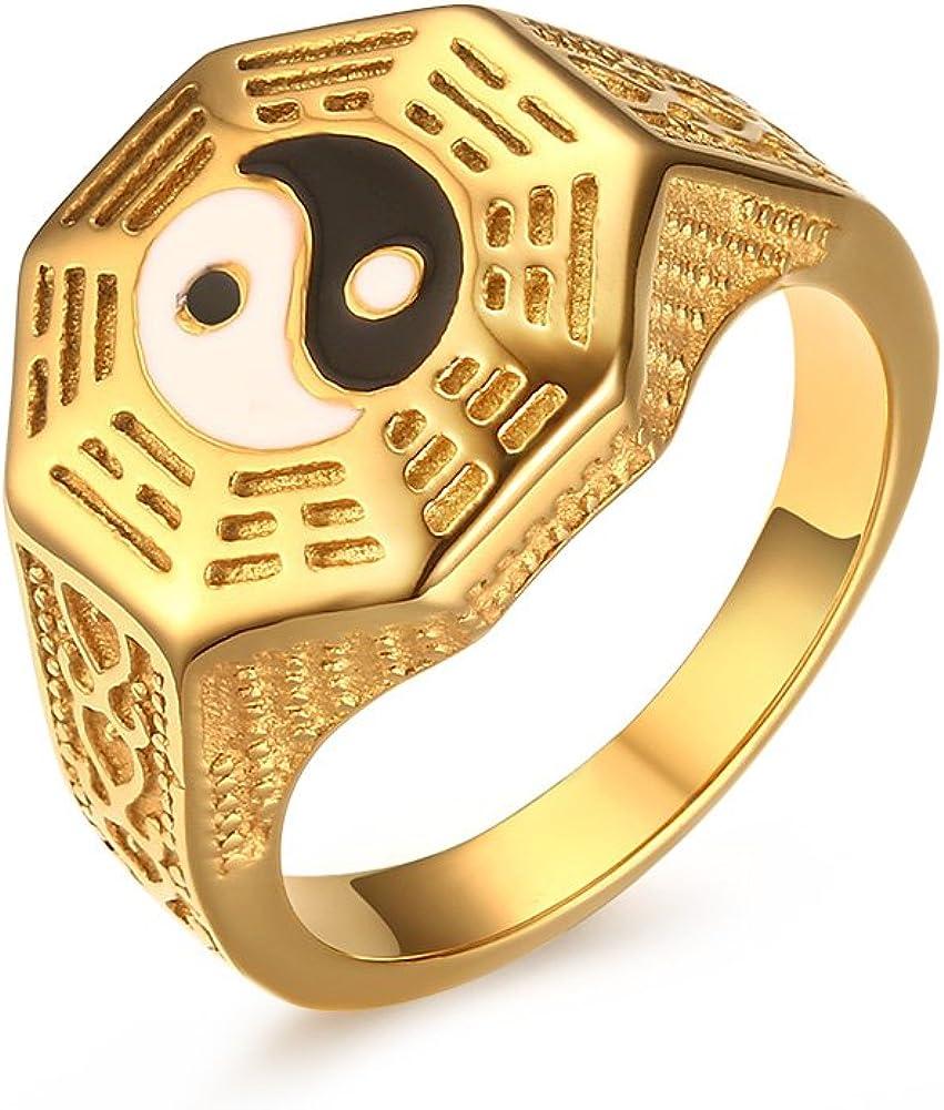 VNOX Mens Womens Stainless Steel Yin Yang Signet Ring for Taoism South Korean Size 7-11