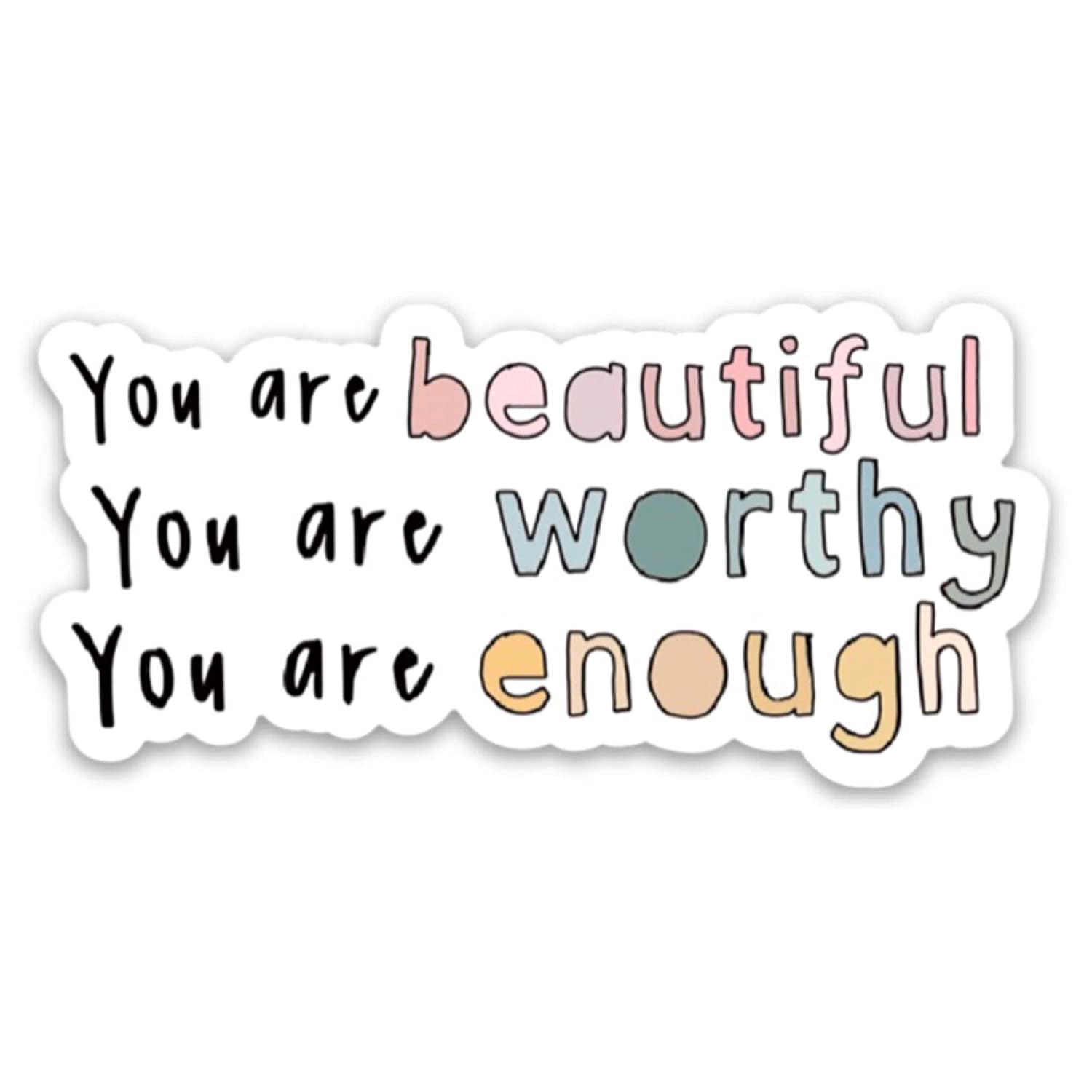 You are beautiful   Inspirational decals   Waterproof, vinyl, trendy, aesthetic stickers   Stickers for a laptop, water bottle, planner, hydro flask etc