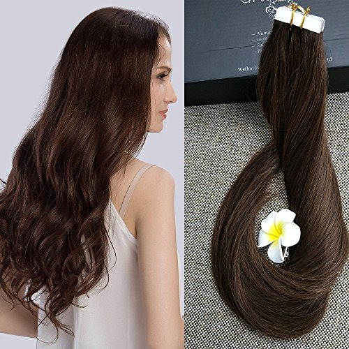 """Beauty : Full Shine 14"""" 20Pcs 50Gram Tape in Human Hair Straight Hair Extension Color #4 Middle Brown Double Side Tape Hair Extension"""