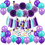Mermaid Party Decorations, Cocodeko 57 Pcs Pom Poms Paper Tassel Polka Dot Garland Mermaid Confetti Balloons for Mermaid Birthday Baby Shower Frozen Under the Sea Party Supplies - Teal Lavender Purple