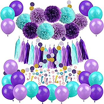 Amazon Com Mermaid Party Decorations Under The Sea Theme Purple