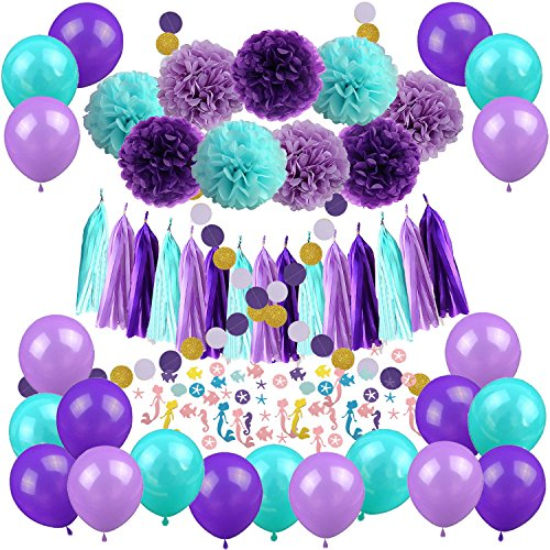 Mermaid Party Decorations, Cocodeko 57 Pcs Pom Poms Paper Tassel Polka Dot Garland Mermaid Confetti Balloons for Mermaid Birthday Baby Shower Frozen Under the Sea Party Supplies - Teal Lavender -