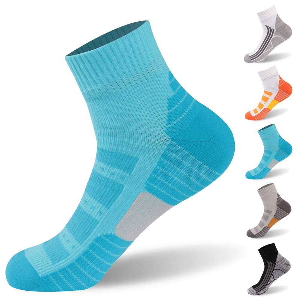 Waterproof Hiking Socks, RANDY SUN Anti-Blister Running Socks Light Cushion Dry Fit Mositure Wicking Athletic Socks, 1 Pair-Blue-Ankle socks,Large by RANDY SUN