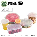 Silicone Stretch Lids - 6 Pack of Various Sizes Stretch Fit Reusable Durable Food Saver Covers,Bowl Covers for Keeping Food Fresh,Safe in Dishwasher, Microwave and Freezer(with Hang Holes)