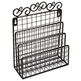 Decorative Scrollwork Design Black Metal Wire Wall Mounted Mail Sorter / Desktop Storage Organizer Rack