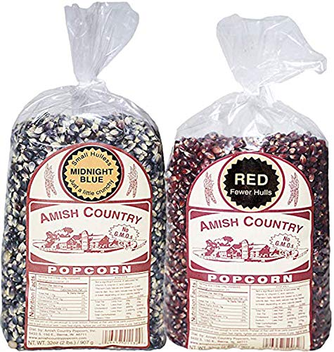 Amish Country Popcorn Variety Gift Set 2 (2 Lb) Bags - Red and Midnight Blue Popcorn with Recipe Guide, Old Fashioned, Non GMO, Gluten Free - 1 Year Freshness Guarantee