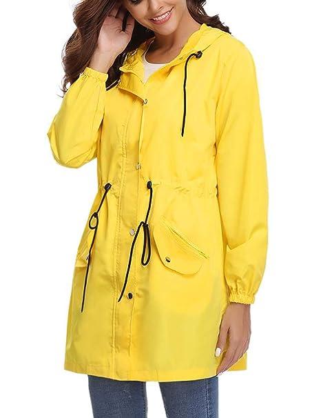 e6759643ed8 Aibrou Abrigo de Impermeable Ligero Chaqueta con Capucha para Mujer   Amazon.es  Ropa y accesorios