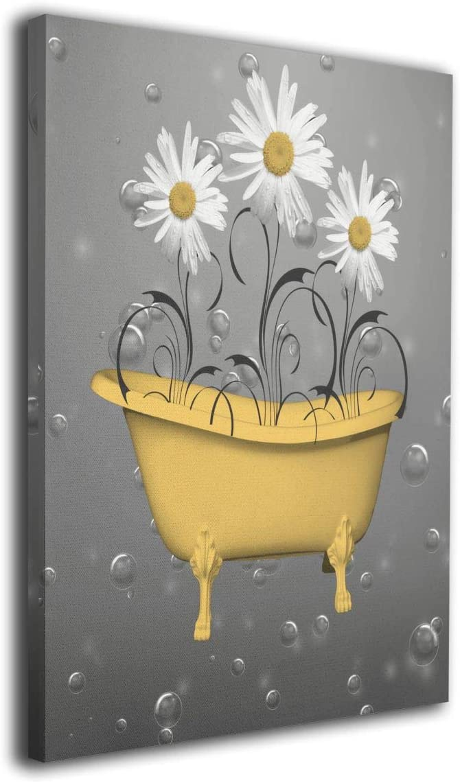 Okoart Daisy Flowers Bathtub Yellow Bubbles Canvas Wall Art 5x5inch  Picture Print Paintings Modern Artwork for Living Room Wall Decor and Home  Decor