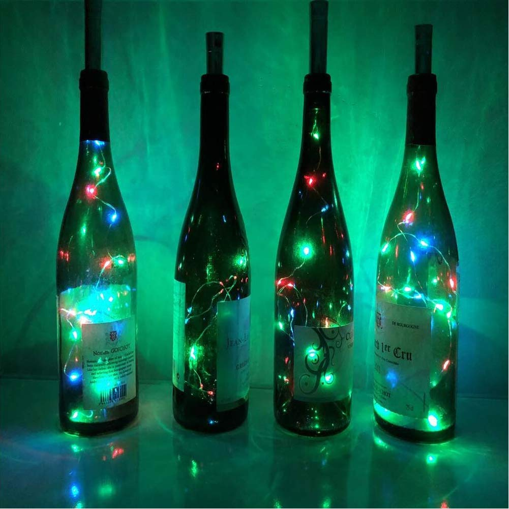 YOURANN Luces de botellas Luces de hadas Paquete de 8 pilas de 20 LED Cable de corcho estrellado Luz de botella de vino para botella DIY, Fiesta, Jardín, ...