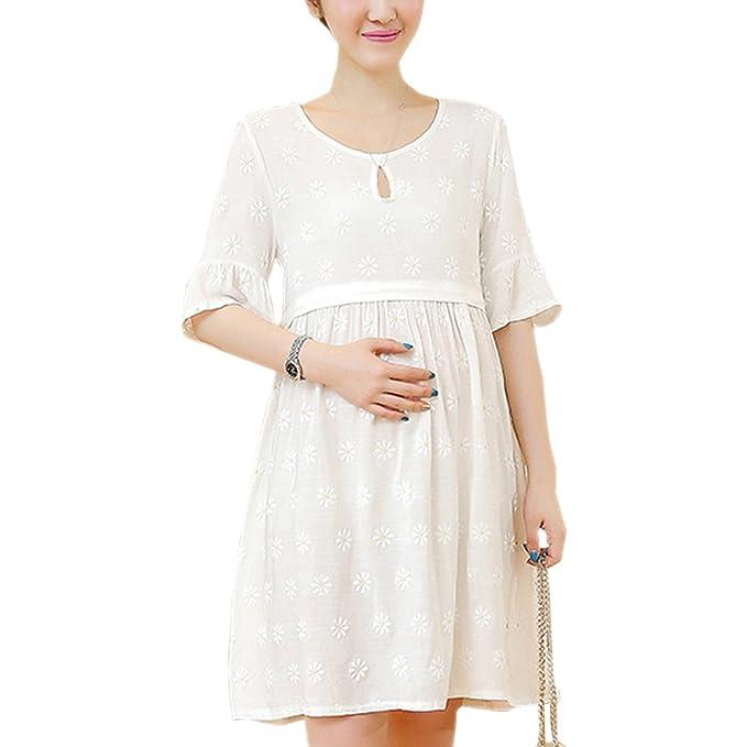 XFentech Mujer Embarazo Vestido Lactancia - Moda Imprimir Premamá Blusa Maternidad de Manga Corta Camiseta Vestidos Verano: Amazon.es: Ropa y accesorios