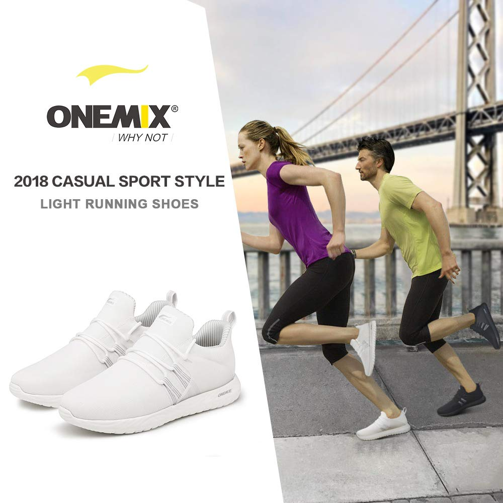 ONEMIX Running Shoes Athletic Lightweight Breathable Mesh Casual Walking Shoes Suitable Men and Women 1268White38 by ONEMIX (Image #3)