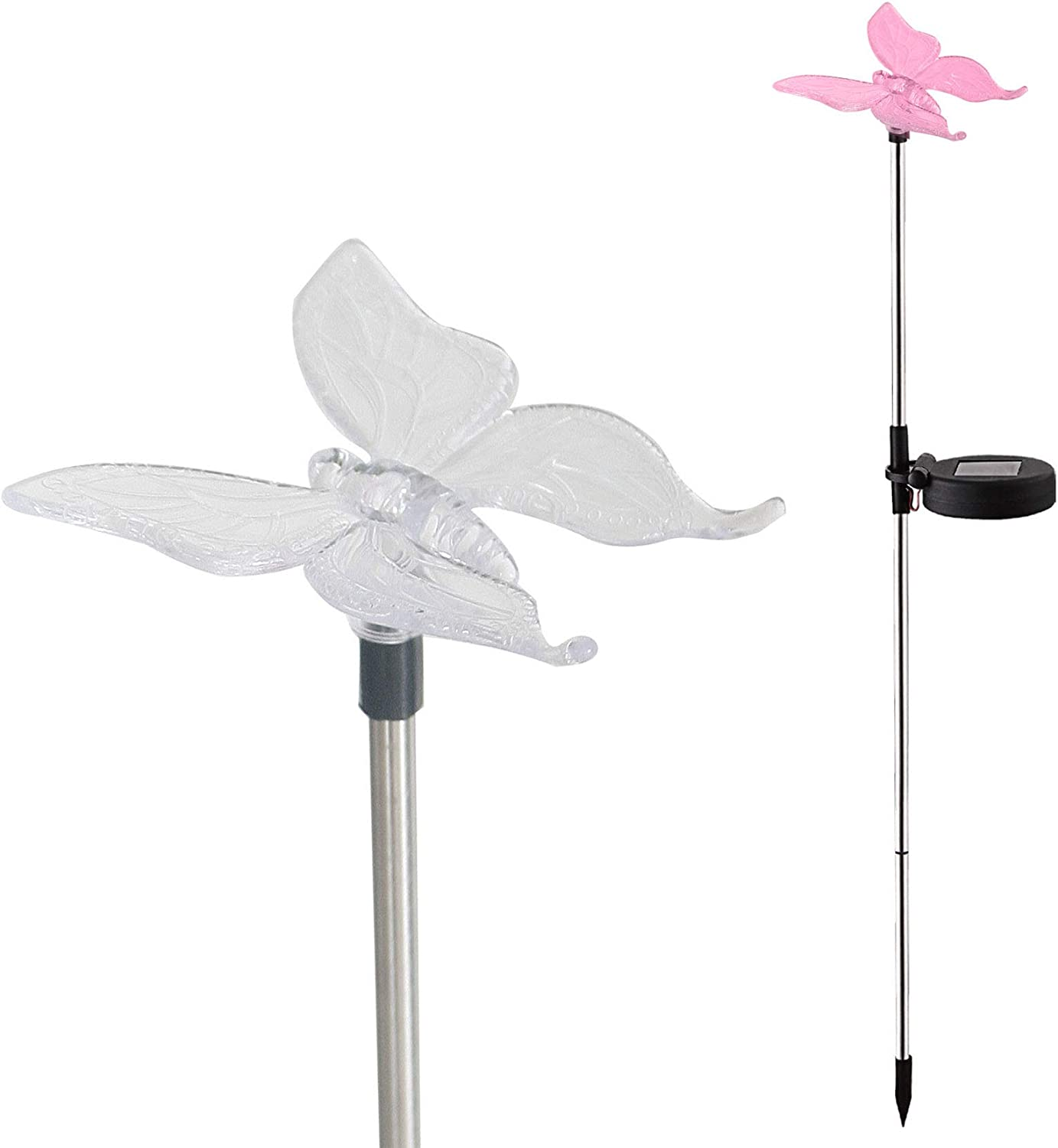 Solar Garden Stake Waterproof Outdoor Light with Vivid Color Charging Figurine –Butterfly LED Garden Landscape Lawn Lamp for Flower Beds Backyards Decoration, 1Pack