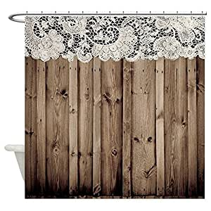 CafePress - Shabby Chic Lace Barn Wood - Decorative Fabric Shower Curtain