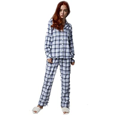 new style 03167 c0104 Damen-pyjama-set Kariert,Langarm Baumwolle Nachtwäsche Lange ...