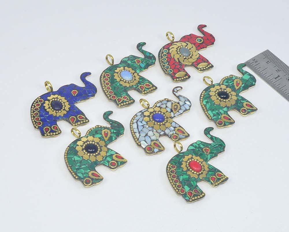 Wholesale 7PC 925 Tibetan Brass Lapis Lazuli Elephant Pendant LOT
