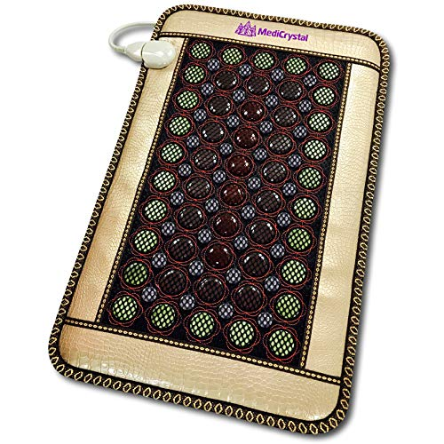 Magnetic Heating Pad - 4 Gems FIR Bio Magnetic Mat - Natural Hot Stones - Amethyst Jade Tourmaline Agate - - Far Infrared Heating Pad - 10Hz PEMF - Negative Ion - FDA Registered Manufacturer (Mini 32