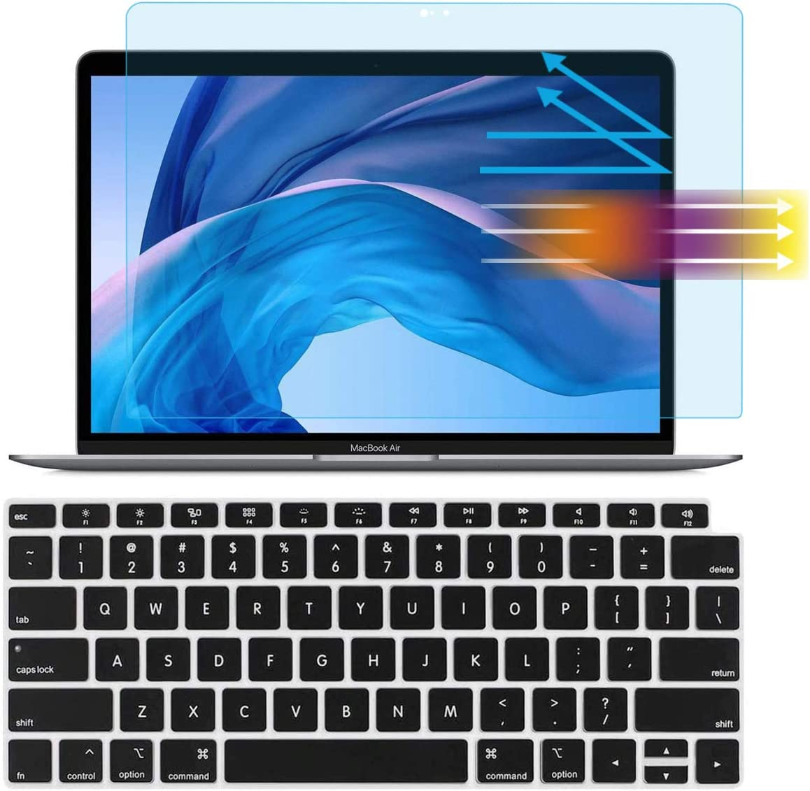 AntiBlue Light Glare Screen Protector Keyboard Cover for MacBook Air 13-inch Model A2237(M1) A2179 A1932 2020 2019 2018, Eyes Protection Filter Reduces Eye Strain