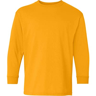 5400B Gildan Youth Heavy Cotton Long Sleeve T-Shirt-Gold