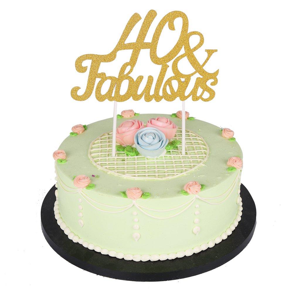 Amazon.com: Gold Glitter Fabulous Cake Topper,Wedding,Birthday ...