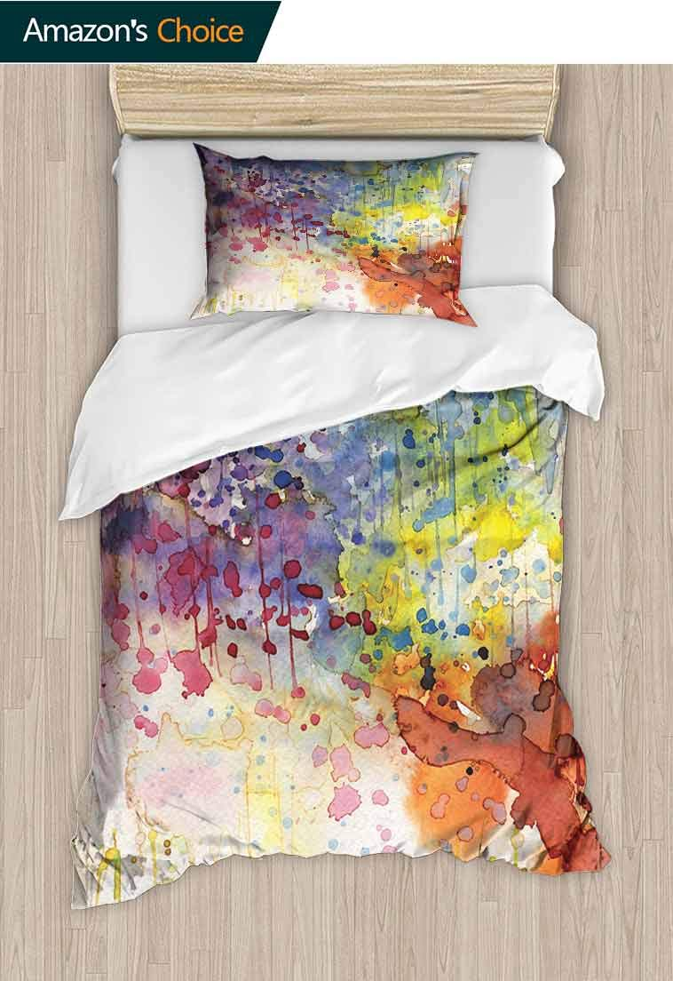 Abstract Printed Quilt Cover and Pillowcase Set, Grunge Style Dirty Look with Colorful Watercolor Spots Liquid Splashes Artistic, Reversible Coverlet, Bedspread, Gifts for Girls Women Multicolor