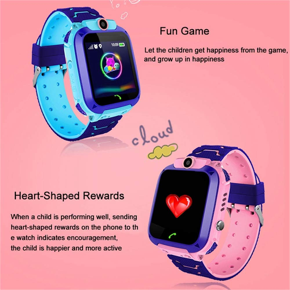 WeiXi Smart Phone Watch for Student Q12 1.44 Inch Waterproof Smart Watch Dial Call HD Touch Screen Camera Game (Pink)