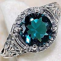 Sumanee Noble Women 925 Silver Sapphire Gemstone Ring Wedding Bridal Jewelry Size 6-10 (7)