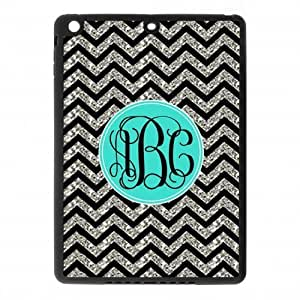 Black and White Chevron VS Cyan Monogram Design Custom Luxury Cover Case For Ipad air2 (IPad 6) ( Black ) ALL MY DREAMS!!
