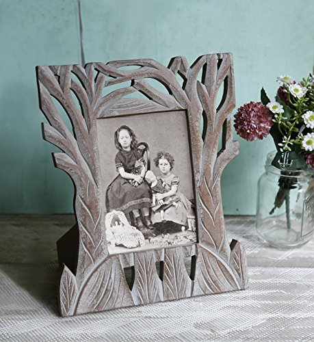Branch Picture Frame (Vintage Wooden Single Picture Photo Frame 5 x 7 Tabletop Holder with Stand Hand Carved Foliage Design Home)