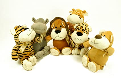 CAPRILO Lote de 6 Peluches Infantiles Decorativos Animales Selva Multicolores Juguetes Infantiles. Muñecos para Bebés