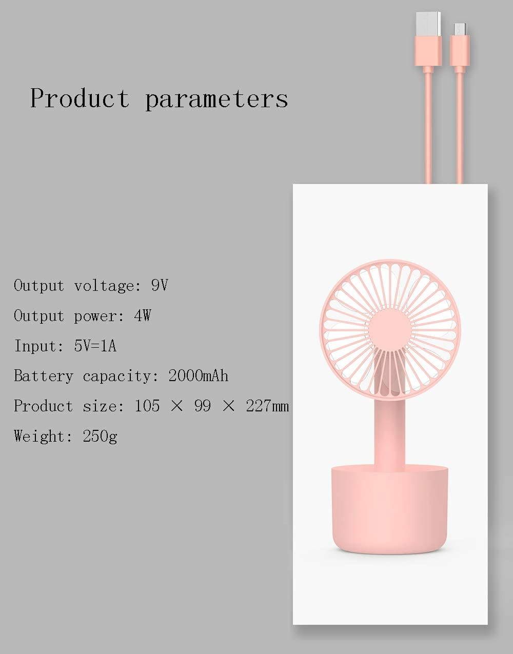 Handheld USB Mini Silent Rechargeable Fan Adapted to The Home Bedroom Office for Gifts