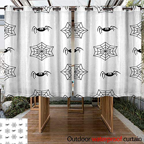 RenteriaDecor Home Patio Outdoor Curtain Halloween Seamless Pattern with Spiders and Spiderweb on White W55 x L72