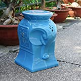 International Caravan Contemporary Elephant Ceramic Garden stool - Blue