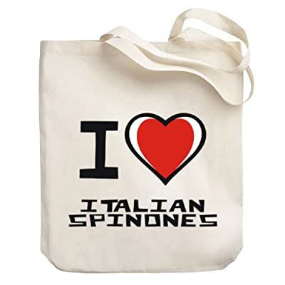 Teeburon I love Italian Spinones Canvas Tote Bag