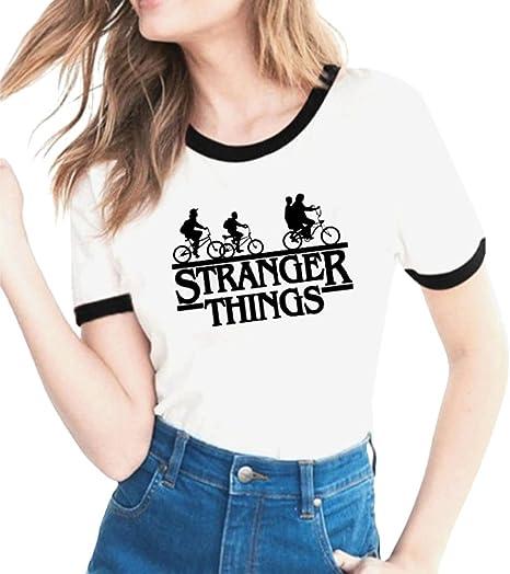 Imagen deYuanu Amantes Spring Verano Tamaño Grande Manga Corta Cuello Redondo Camiseta, Suave Cómodo Slim T-Shirt con Cartas/Patrones Temática Impresión sobre Stranger Things