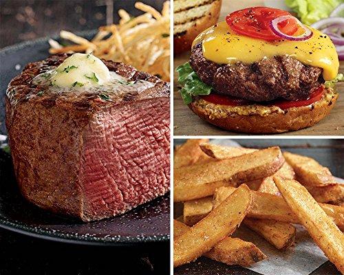 Kansas City Steaks 6 (6oz) Super Trimmed Filet Mignon, 8 (4.5 oz) Classic Steakburgers and 2 (16 oz) bags KC Steak Fries