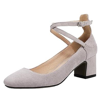 7bf19bc55b AIYOUMEI Damen Geschlossen Pumps mit Schnürung und 5cm Absatz Chunky Heel  Bequem Sommer Schuhe