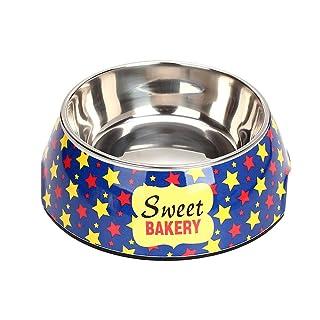 Cupcinu Cuenco de Mascota Cuenco de Perro de Dibujos Animados Cuenco de Gato de Acero Inoxidable Alimentador de Doble tazón de Agua Comedero Antideslizante (Azul Claro L)