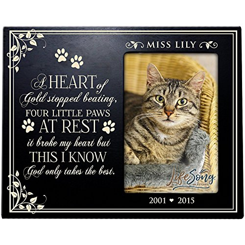 LifeSong Milestones Personalized Pet Memorial Gift,Sympathy Photo Frame A Heart of Gold Stopped Beating Four Little Paws at Rest it Broke My Heart, Custom Frame Holds 4x6 Photo USA Made (Black)