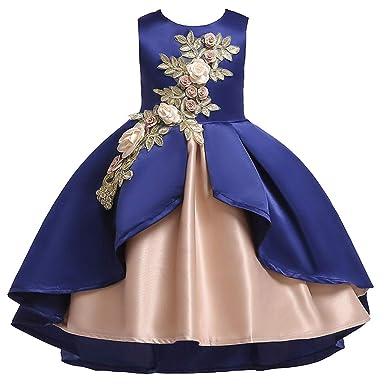 ZARLLE Vestido de Niñas Boda Fiesta de Princesa Encaje de Flor Cóctel Vestido Fiesta Infantil Elegante Bautizo Ceremonia Ropa Bebé NiñAs para Verano