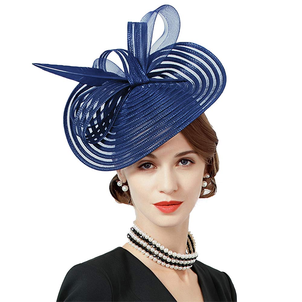 F FADVES Feather Fascinators for Women Elegant Wedding Cocktail Church Tea Party Hat Navy Blue by F FADVES