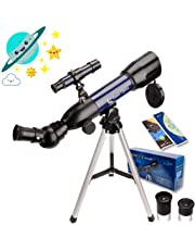 GazerOptics Telescope for Kids & Astronomy Beginners, 50mm Travel Scope - A Real Telescope for Moon Stars Viewing, Bird Watching, Sightseeing & Outdoor Adventures