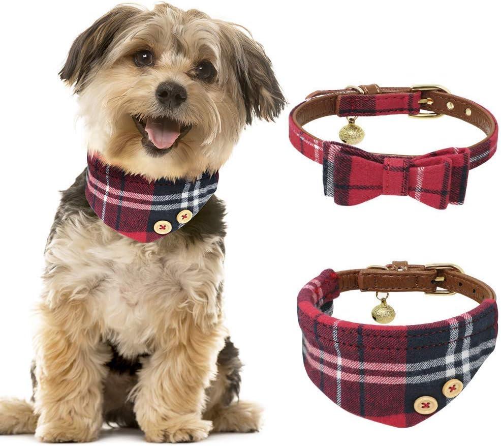 Tacobear 2 Pieza Collar Perro Pequeño Collares para Perros Cuero Collares para Gato Ajustable Perrito Collar Pañuelo Rojo Corbata para Perro pequeño, Cachorro, Gato, Mascota: Amazon.es: Productos para mascotas