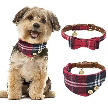 Tacobear 2 Pieza Collar Perro Pequeño Collares para Perros Cuero Collares para Gato Ajustable Perrito Collar Pañuelo Rojo Corbata para Perro pequeño, ...